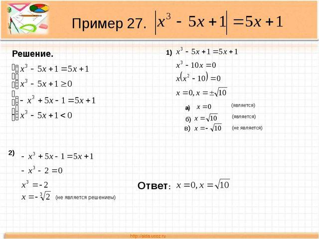 Пример 27. Решение. 1) а) (является) (является) (не является) б) в) 2) (не яв...