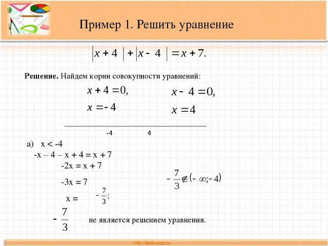 Решение. Найдем корни совокупности уравнений: _____________________________...