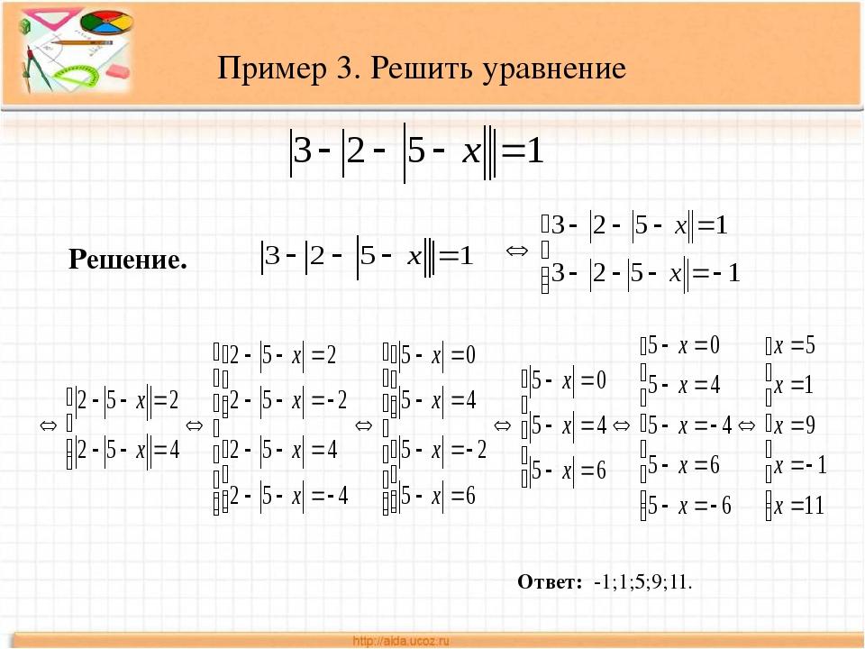 Пример 3. Решить уравнение Решение. Ответ: -1;1;5;9;11.
