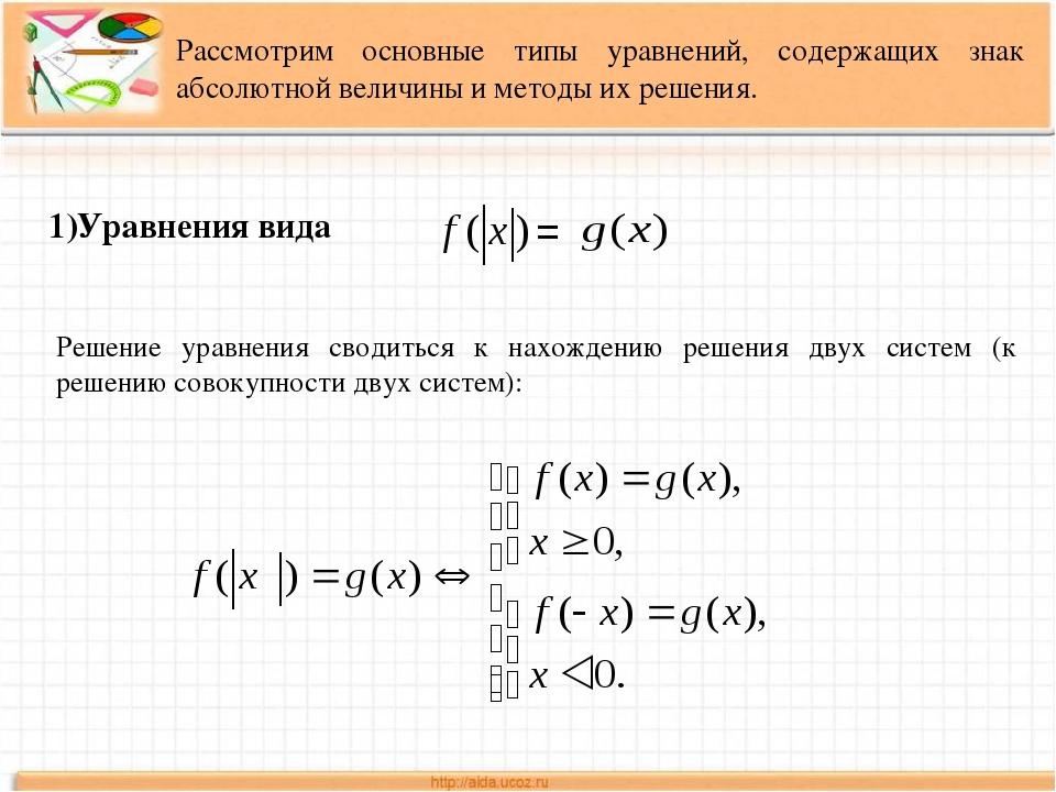 Рассмотрим основные типы уравнений, содержащих знак абсолютной величины и мет...