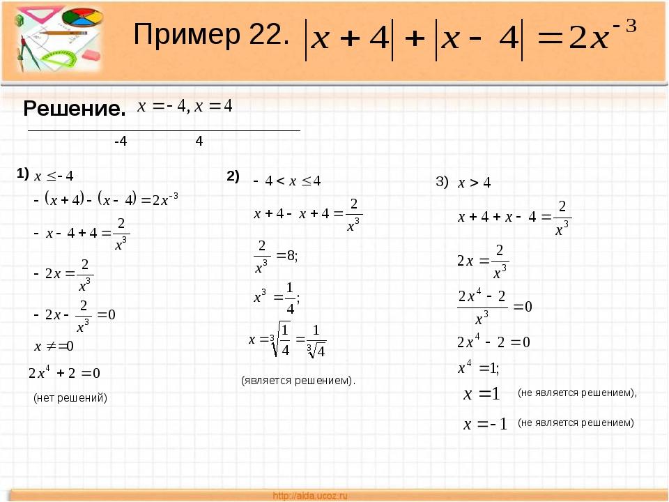 Пример 22. Решение. _________________________________ -44 1) (нет решений) 2...