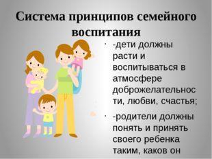 Система принципов семейного воспитания -дети должны расти и воспитываться в а