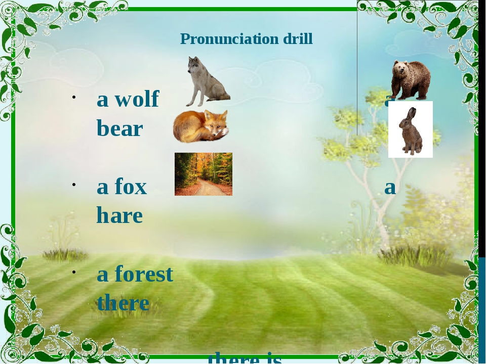 Pronunciation drill a wolf a bear a fox a hare a forest there there is there...