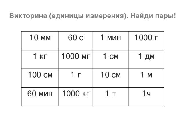 Викторина (единицы измерения). Найди пары! 10 мм60 с1 мин1000 г 1 кг1000...