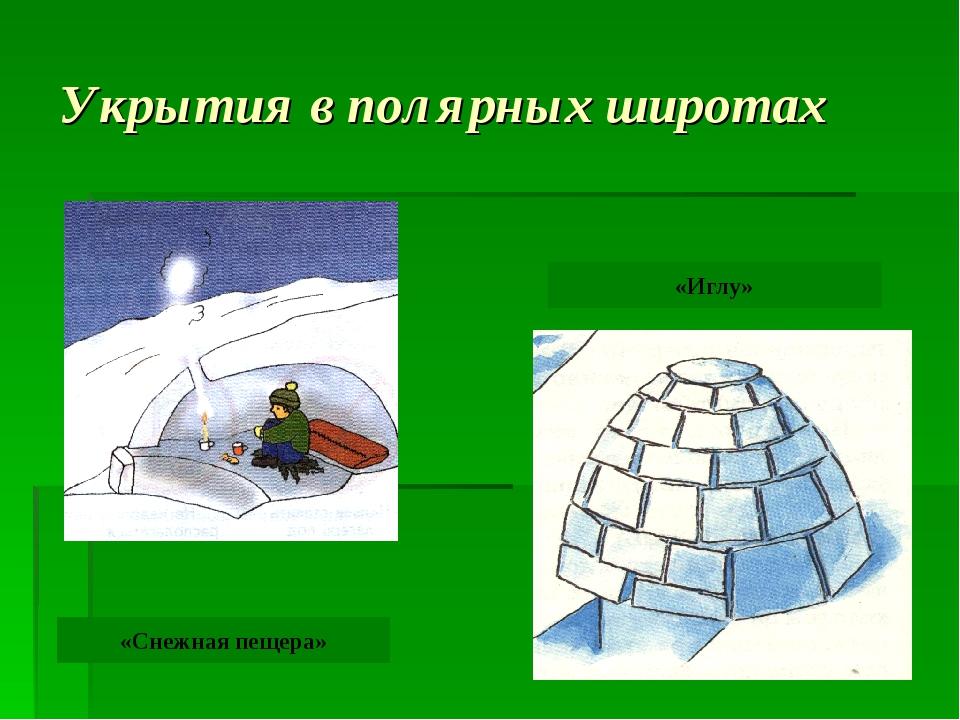 Укрытия в полярных широтах «Снежная пещера» «Иглу»