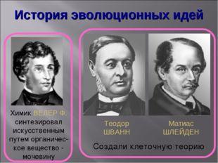 История эволюционных идей Химик ВЕЛЕР Ф. синтезировал искусственным путем орг
