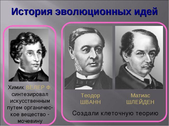 История эволюционных идей Химик ВЕЛЕР Ф. синтезировал искусственным путем орг...