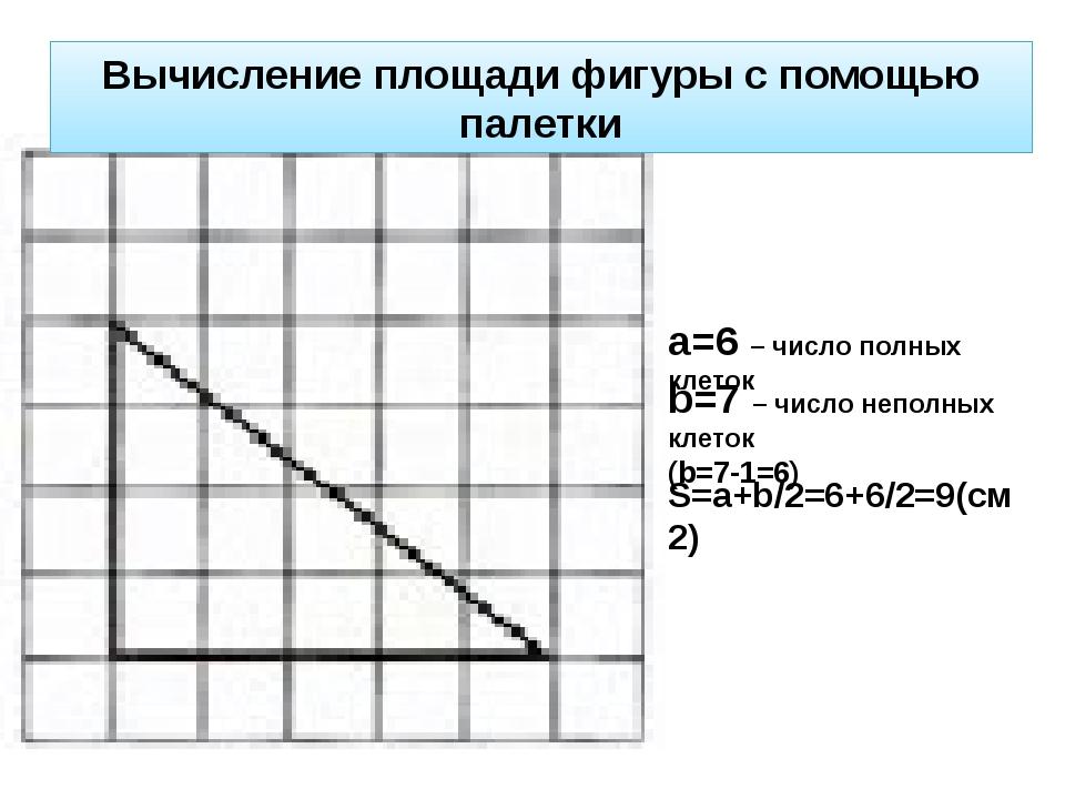 а=6 – число полных клеток b=7 – число неполных клеток (b=7-1=6) S=a+b/2=6+6/2...