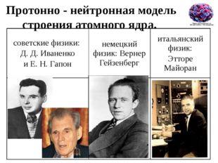 Протонно - нейтронная модель строения атомного ядра. советские физики: Д. Д.