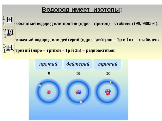Водород имеет изотопы: - обычный водород или протий (ядро – протон) – стабиле...