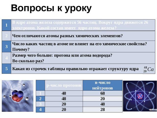 Вопросы к уроку  p-числопротонов n-числонейтронов 1 48 68 2 48 20 3 20 48 4...