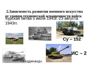 2.Зависимость развития военного искусства от уровня технической оснащенности