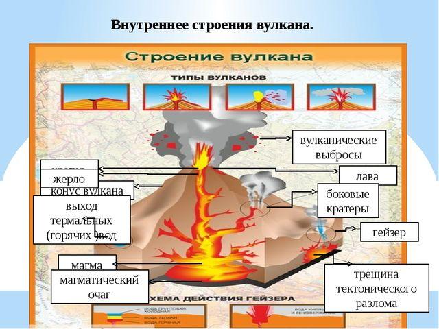 Внутреннее строения вулкана. кратер конус вулкана жерло выход термальных (гор...