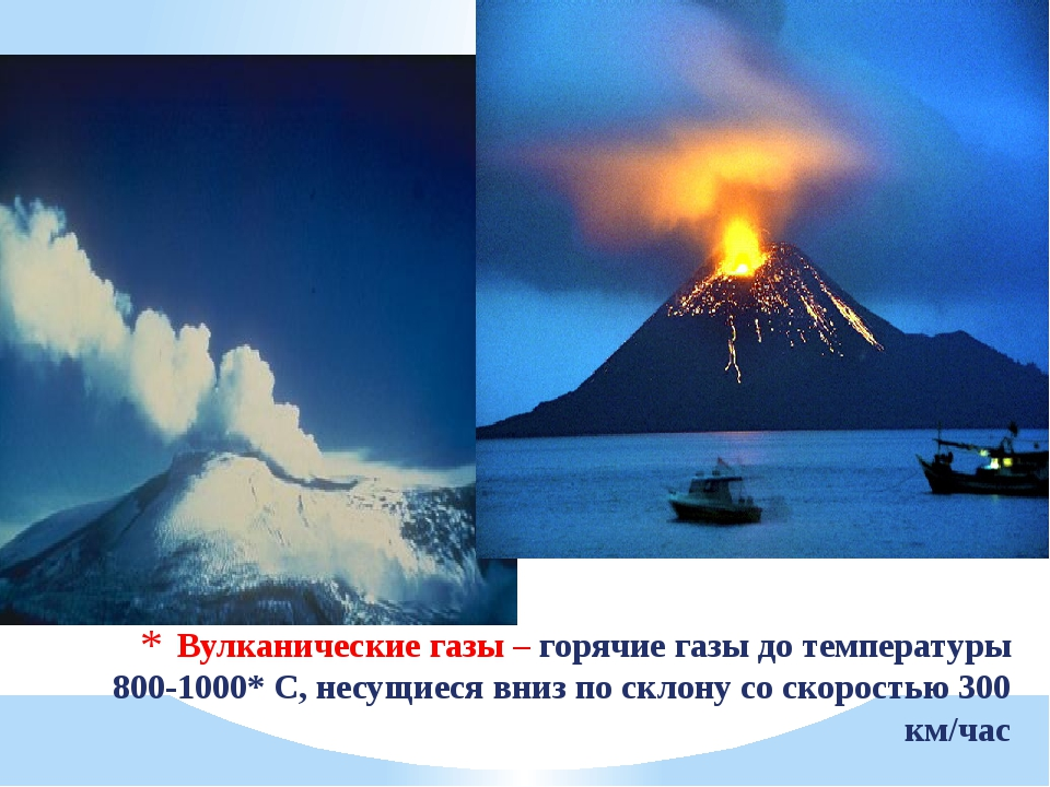 Вулканические газы – горячие газы до температуры 800-1000* С, несущиеся вниз...