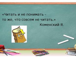 «Читать и не понимать – то же, что совсем не читать.» Коменский Я.