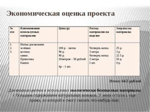 Экономическая оценка проекта Итого: 64.5 рублей Для вязания цветов я использо