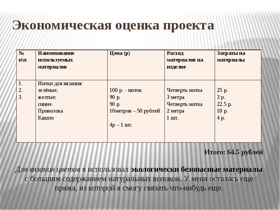 Экономическая оценка проекта Итого: 64.5 рублей Для вязания цветов я использо...