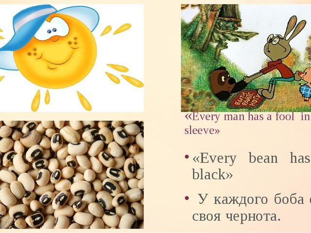 «Every man has a fool in his sleeve» «Every bean has its black» У каждого боб...