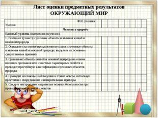 Лист оценки предметных результатов ОКРУЖАЮЩИЙ МИР Ф.И. ученика Умения