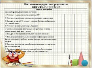Лист оценки предметных результатов ОКРУЖАЮЩИЙ МИР Человек и общество Базов