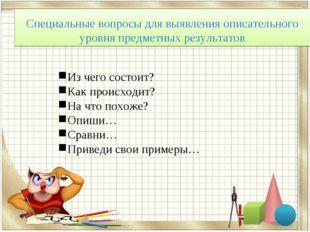 Специальные вопросы для выявления описательного уровня предметных результатов