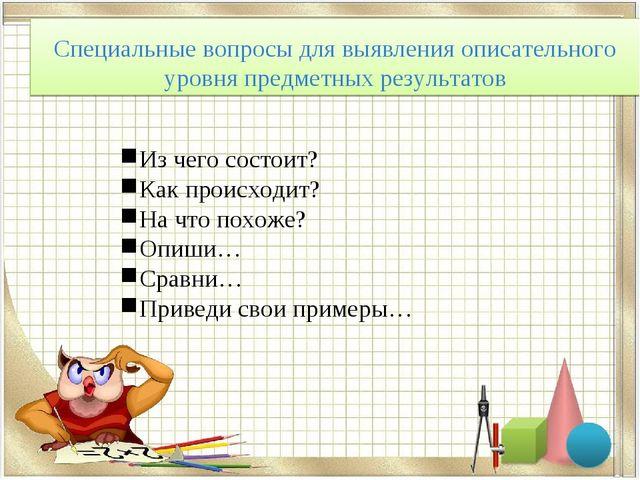 Специальные вопросы для выявления описательного уровня предметных результатов...