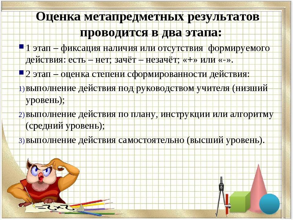 Оценка метапредметных результатов проводится в два этапа: 1 этап – фиксация н...