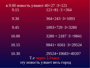 в 9.00 новость узнают 40+27 ·3=121 9.15 121+81 ·3 =364 9.30 364+243 ·3=1093 9