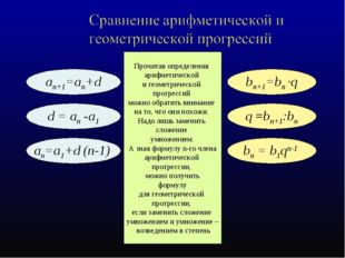 an+1=an+d bn+1=bn ·q an=а1+d (n-1) bn = b1qn-1 d = an -а1 q =bn+1:bn Прочитав