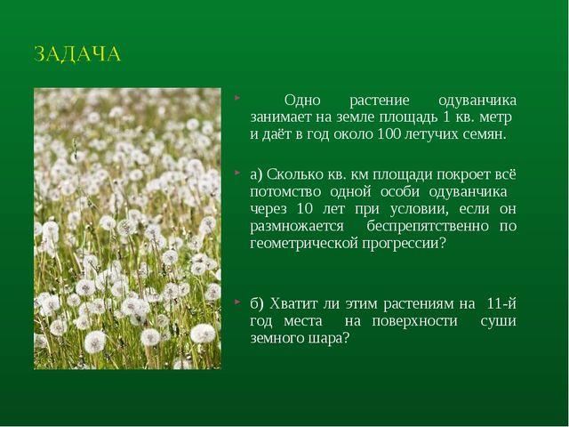 Одно растение одуванчика занимает на земле площадь 1 кв. метр и даёт в год о...