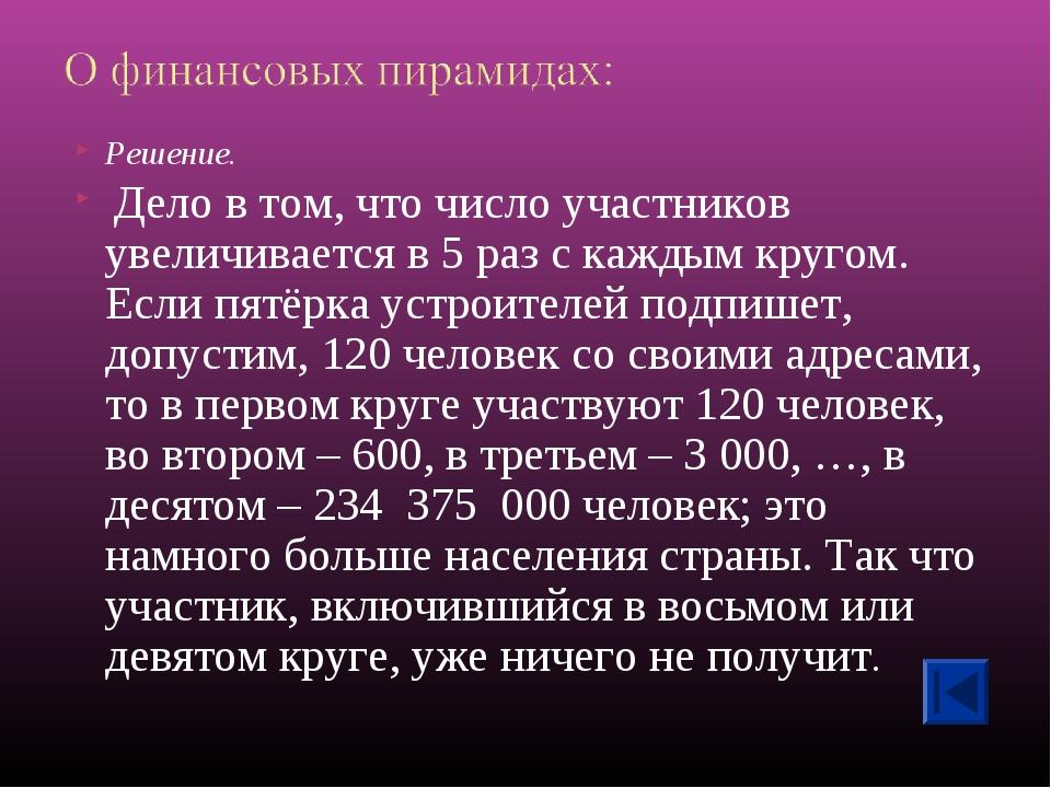 Решение. Дело в том, что число участников увеличивается в 5 раз с каждым круг...
