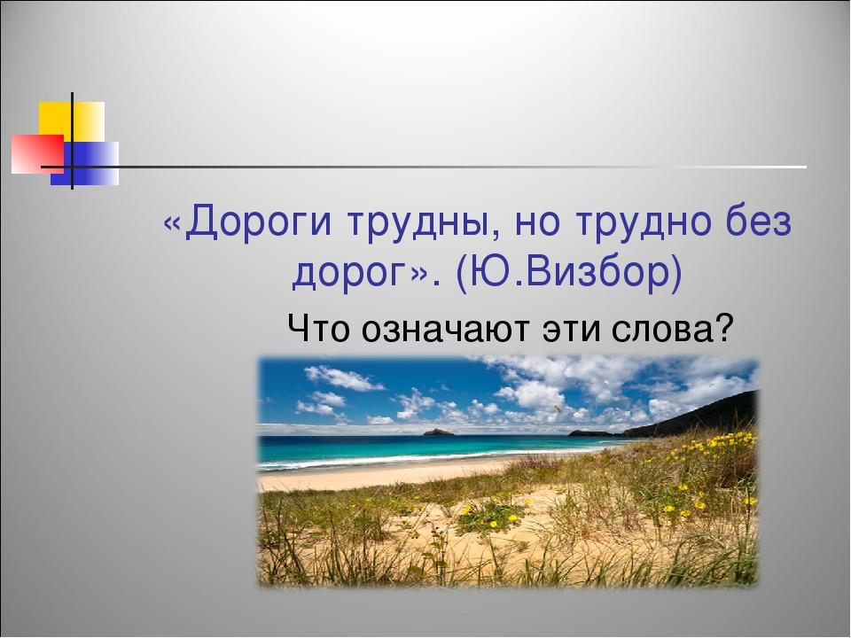 «Дороги трудны, но трудно без дорог». (Ю.Визбор) Что означают эти слова?