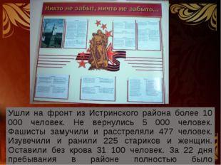 Ушли на фронт из Истринского района более 10 000 человек. Не вернулись 5 000