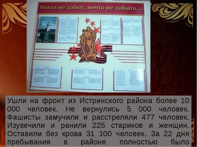 Ушли на фронт из Истринского района более 10 000 человек. Не вернулись 5 000...
