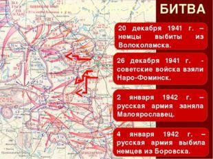 МОСКОВСКАЯ БИТВА 20 декабря 1941 г. – немцы выбиты из Волоколамска. 26 декабр