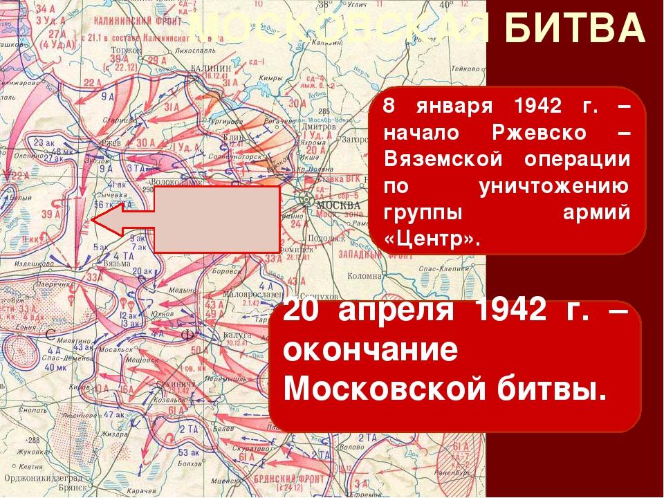 МОСКОВСКАЯ БИТВА 8 января 1942 г. – начало Ржевско – Вяземской операции по ун...