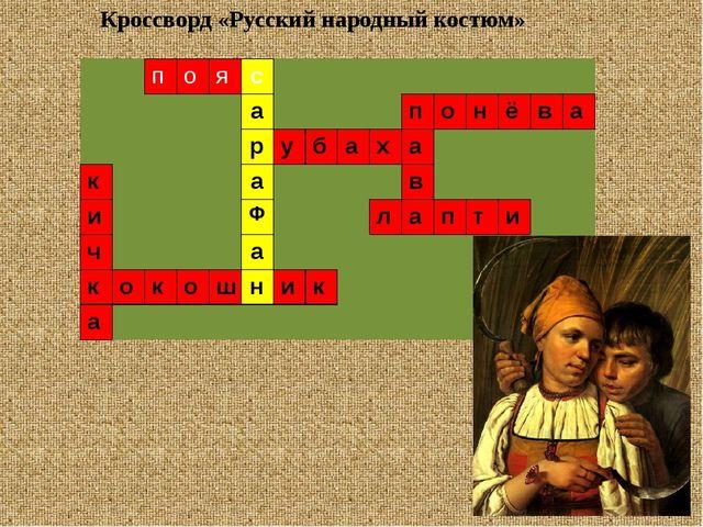 Кроссворд «Русский народный костюм» п о я с а п о н ё в а р у б а х а к а в и...