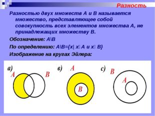 Разность Разностью двух множеств А и В называется множество, представляющее с