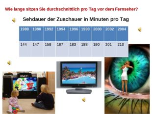Wie lange sitzen Sie durchschnittlich pro Tag vor dem Fernseher? Sehdauer de