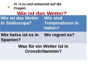 Hӧrt zu und antwortet auf die Fragen: Wie ist das Wetter? Wie ist das Wetter