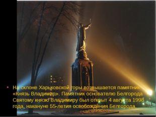 На склоне Харьковской горы возвышается памятник «Князь Владимир». Памятник ос