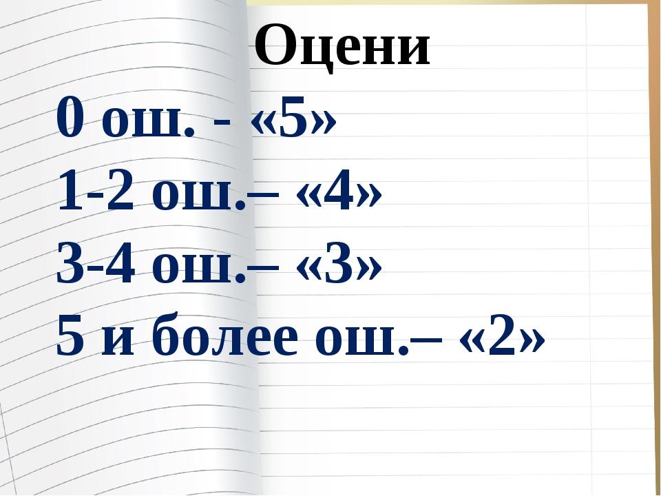 Оцени 0 ош. - «5» 1-2 ош.– «4» 3-4 ош.– «3» 5 и более ош.– «2»