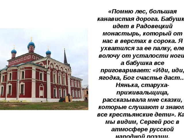 «Помню лес, большая канавистая дорога. Бабушка идет в Радовецкий монастырь, к...