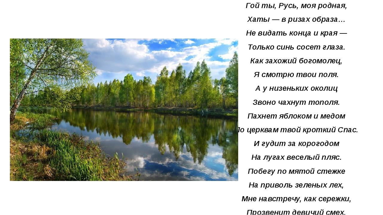 Гой ты, Русь, моя родная, Хаты — в ризах образа… Не видать конца и края — Тол...