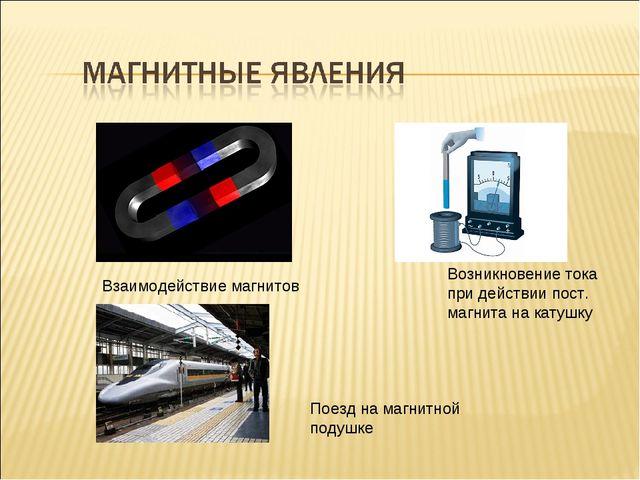 Взаимодействие магнитов Поезд на магнитной подушке Возникновение тока при дей...