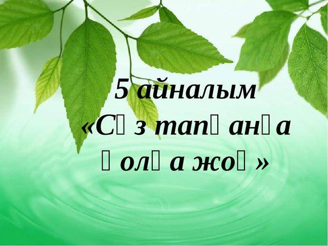 5 айналым «Сөз тапқанға қолқа жоқ»