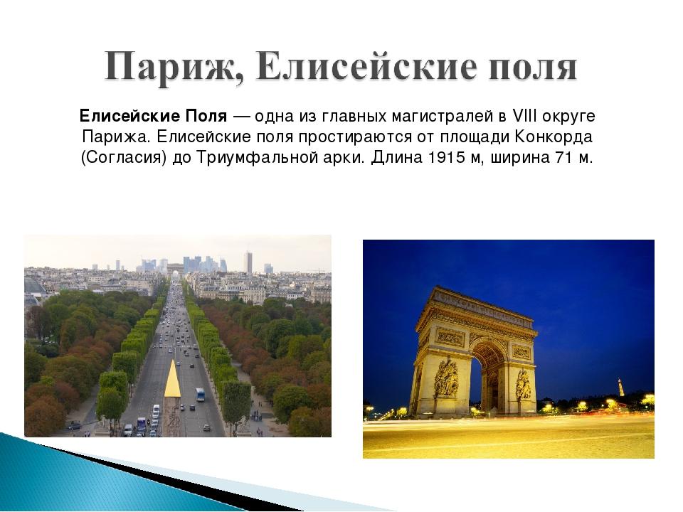 Елисейские Поля— одна из главных магистралей в VIII округе Парижа. Елисейски...