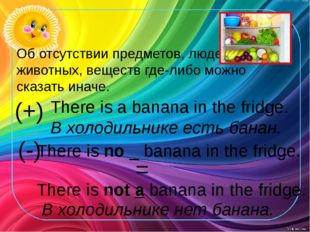 (+) There is a banana in the fridge. В холодильнике есть банан. (-) There is