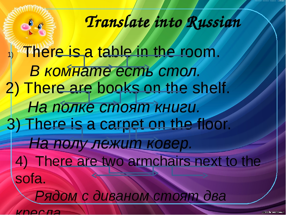 Translate into Russian There is a table in the room. В комнате есть стол. 2)...