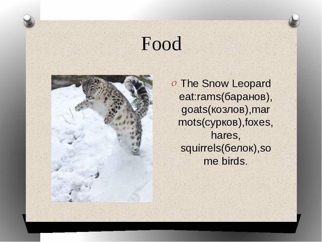 Food The Snow Leopard eat:rams(баранов),goats(козлов),marmots(сурков),foxes,...